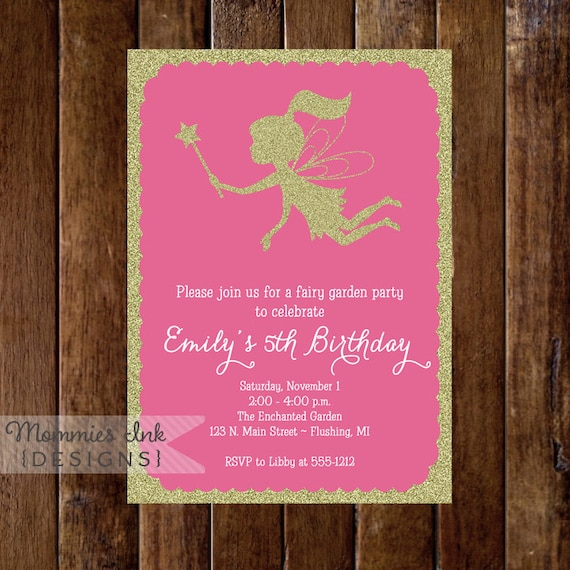 Gold glitter fairy 5th birthday party invitation fairy garden il570xn filmwisefo