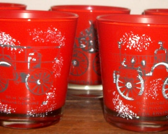 Set of 8 Fired on Old Fashioned Glasses with Antique Fire Engine Themes