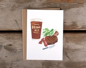 Brown Ale and Steak A6 Card with Kraft Envelope