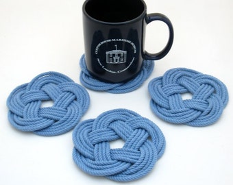 Ocean Coasters Nautical Blue Cotton Woven in a Flat Pattern 4 pack