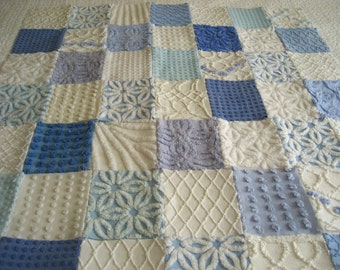 Beach Day - Vintage Chenille Baby Quilt Blue and White - Custom