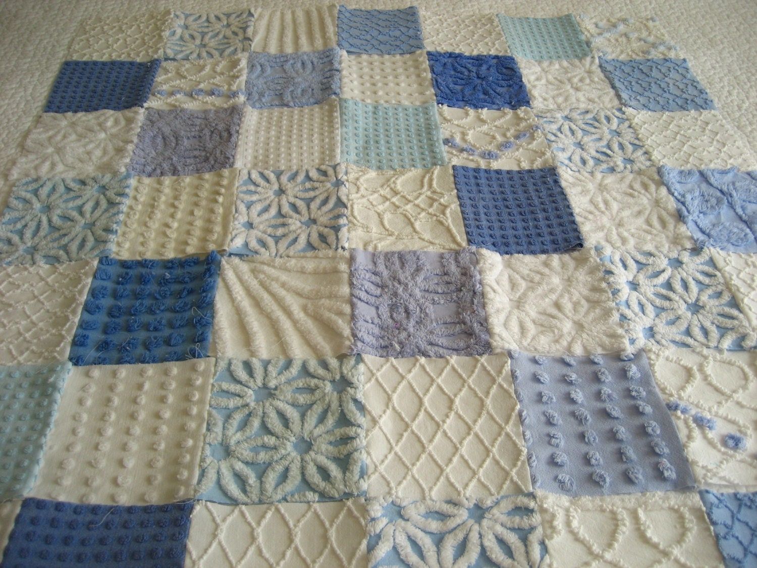 Blue and White Vintage Chenille Baby Boy Quilt by SURELYCHENILLE