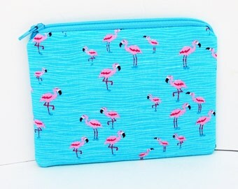 Small Zippered Pouch Bag, Pink Mini Flamingos