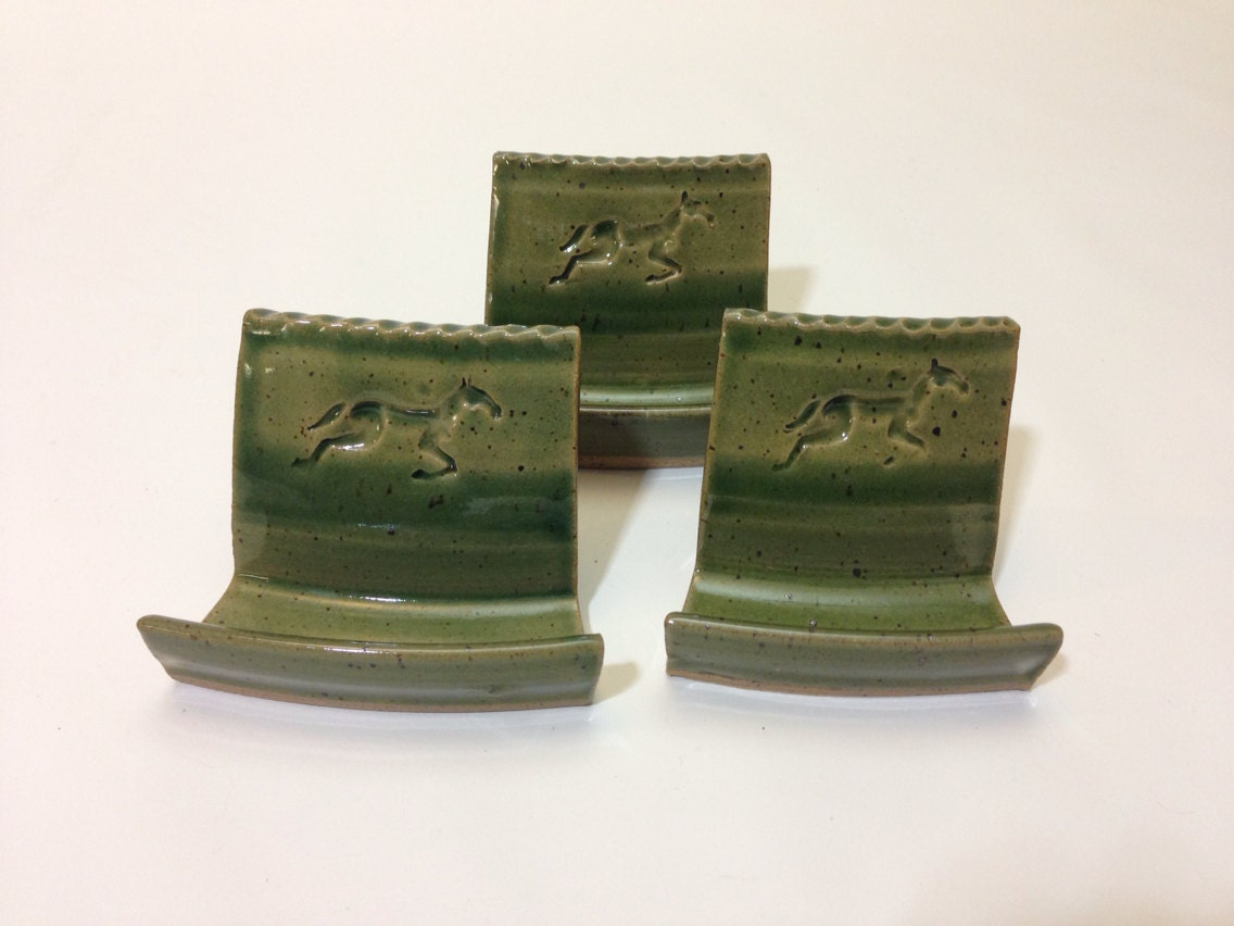 Pottery business card holder for odd shaped cards in green for Ceramic business card holder