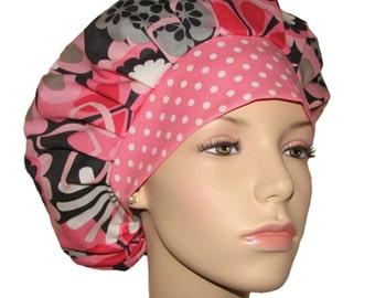 Flower Shower In Petal Pink-Scrub Caps-Scrub Hats-Surgical Scrub Hat-Bouffant Scrub Hat-Scrubheads-Floral Scrub Hat-Anesthesia Scrub Hat