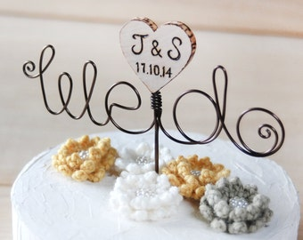 Customize Wire and wooden heart Cake Topper, wire cake topper - we do