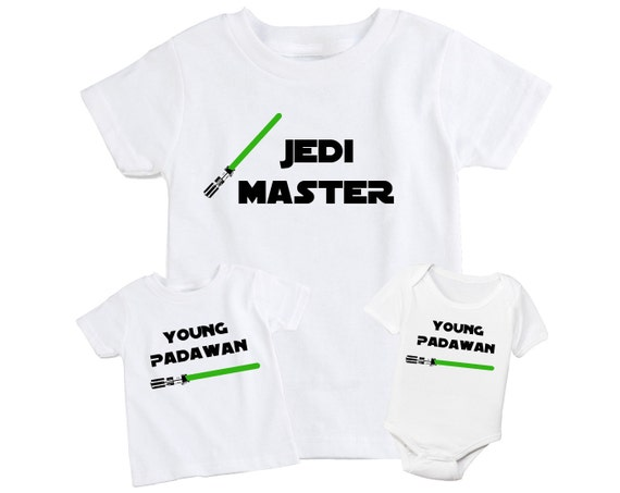 lot de 2 p re papa fils assorti t shirt ma tre jedi star. Black Bedroom Furniture Sets. Home Design Ideas