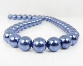 Navy Blue Pearls, 12mm Pearls, Sapphire Blue Glass Pearls, 12 mm Round Beads, Loose Strands