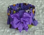 "Halloween Hoots Dog Collar Scrunchie with purple bow - XXS - 8"" - 10"" neck"
