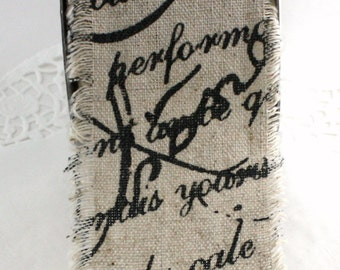 """French Script Jute & Cotton Ribbon, 2.5"""" wide by the yard, Sewing, Gift Wrapping, Bouquets, Weddings, Burlap Ribbon, Printed Ribbon"""