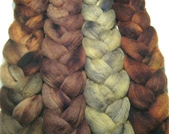 Wonder Bundle Polwarth & tussah silk roving 9.5 oz Olive Branch - hand dyed spinning felting fiber bundle - hand painted wool top