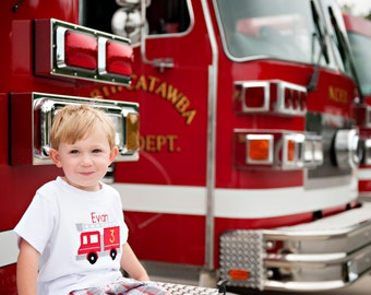 Personalized Birthday Shirt Fire Truck Number SHORT SLEEVE