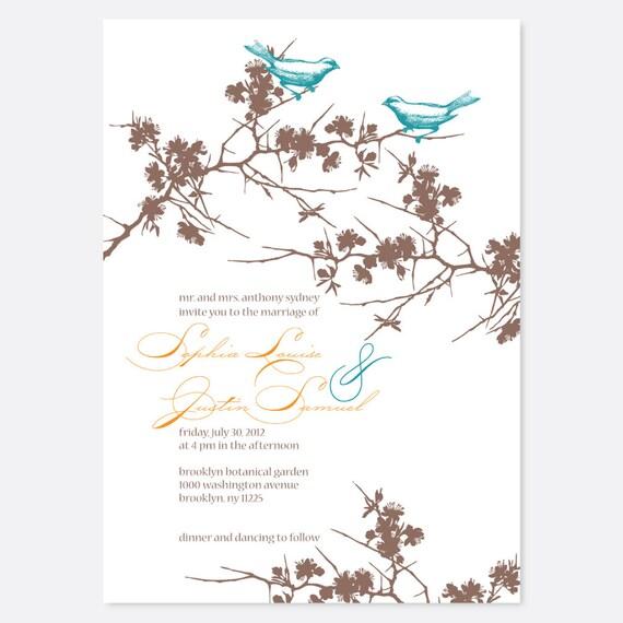 Rustic Birds Wedding Invitation, Vintage Wedding Invitation, Bird Invitation, Floral Wedding Invitation, Script Wedding Invitation