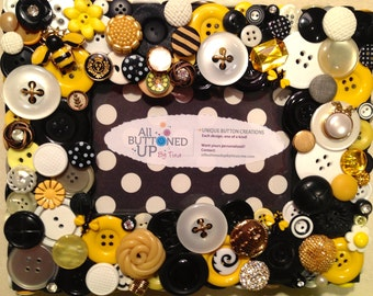 "BUMBLE BEE Themed Button Picture Frame in Black, Yellow and White for 4""x6"" photo"