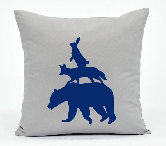 Animal Light Pillows : Animals Party Light Grey And Navy Pillow Cover. Hand Cut