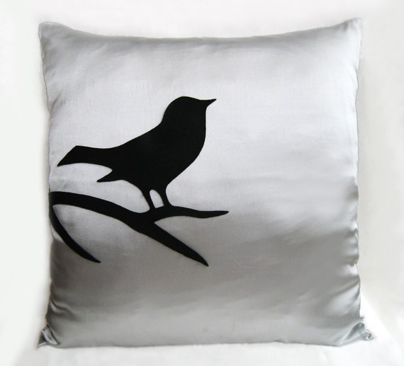 Black Bird On Branch Silver Grey Pillow Cover. Modern Bird
