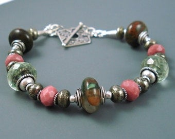 Gemstone Bracelet, Green Opals, Pyrite, Rhodonite and Green Amethyst with Sterling Silver Bracelet