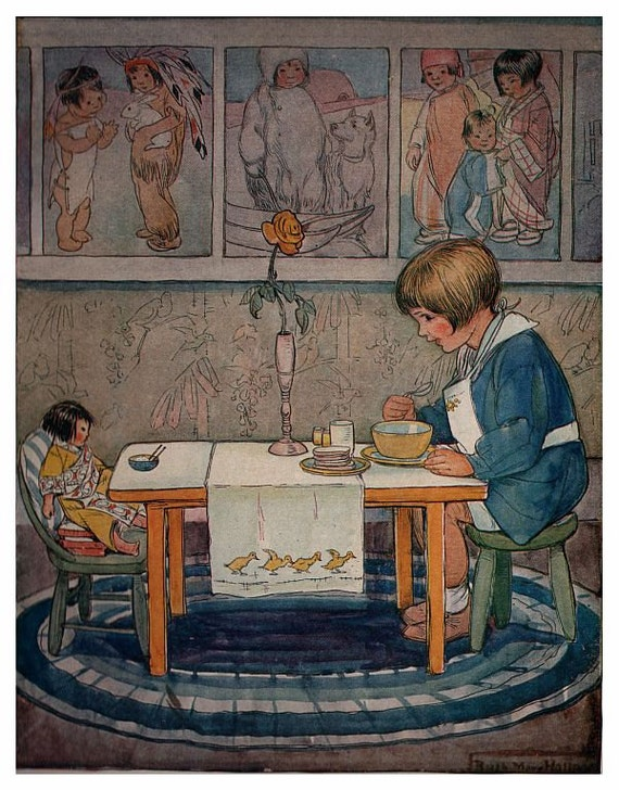 Antique victorian nursery decor children illustration doll Vintage childrens room decor