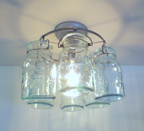 Greenish Blue Vintage Canning Jar CEILING LIGHT Last By