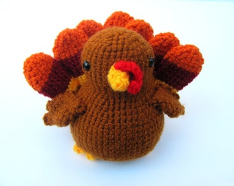 Crochet PATTERN PDF - Amigurumi Turkey - cute crochet thanksgiving turkey bird, crochet turkey, amigurumi pattern, crochet animal softie