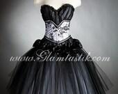 Custom Size black and white burlesque corset dress costume