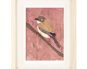 HOUSE WREN Pink Poster Size Linocut Reproduction Art Print: 8 x 10, 9 x 12, 11 x 14 or 12 x 16