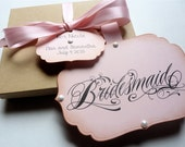 Will You Be My Bridesmaid, Maid of Honor Boxed invitation, Vintage Style, Pink with Pearls