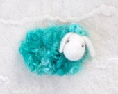 Felted Sheep pin emerald turquoise - neddle felted wool Brooch