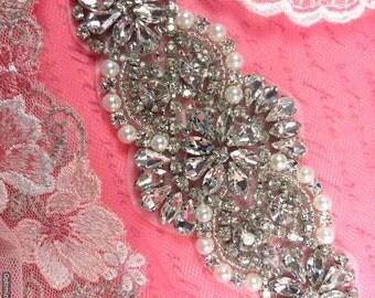 """XR250 Bridal Motif Silver Crystal Clear Rhinestone Applique w/ Pearls 6"""" (XR250-slcrp)"""