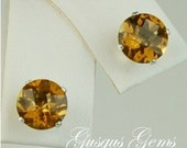 Whiskey Quartz Sterling Silver Studs 7mm 2.40ctw