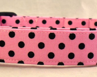 Polka Dot Palooza Light Bright Pink and Black Polka Dot Dog Collar