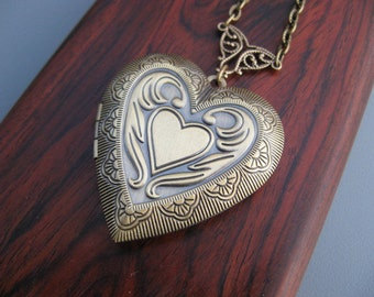 Sale - Heart Photo Locket - Antique Bronze Double Heart Design - Timeless Keepsake Jewelry by Art Inspired Gifts
