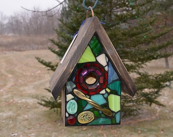 STAINED GLASS Mosaic Birdhouse in GREEN and Red, made to order