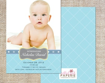 Photo birth announcement with blue diamonds and polka dots
