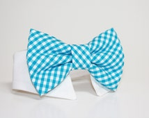 Bright Turquoise Gingham Dog Bow Tie and Shirt Collar-  Wedding Dog Tie- Shirt Collar