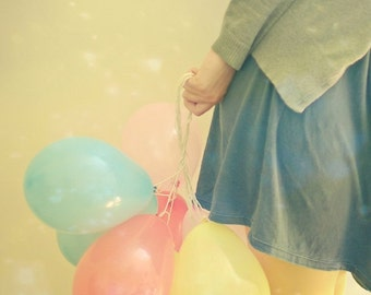 SALE 25% OFF Surprise - Portrait photography, female portrait, balloon art, pastel colors, gold, girl art 8x10 Print