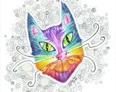 Jelly Cal Cat Original Colored Pencil Illustration Drawing