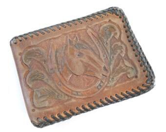 Vintage Tooled Leather Wallet • Mid Century Horse Head Wallet • KRN