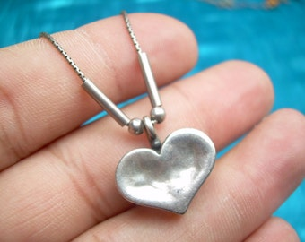 """Vintage Hand crafted designer 17"""" 924 necklace with Hart pendant Stamped 925 and hallmarked"""
