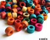 Tube greek ceramic beads mix, 4mm multicolor beads - set of 50