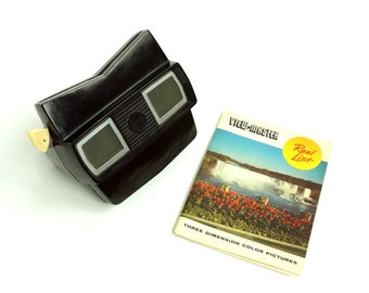 Vintage 1950s View-Master Model E Viewer and Reel List / Brown Celluloid Case3D Viewing Retro Nostalgic Toy for All Ages