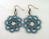 Turquoise Lace Earrings, Boho Lace Earrings, Country Turquoise Earrings, Beaded Lace Earrings, Turquoise Tatting Jewelry, Handmade Lace