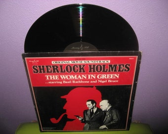 HOLIDAY SALE Vinyl Record Album Sherlock Holmes - The Woman in Green Soundtrack LP 1945/1980 Basil Rathbone Classics