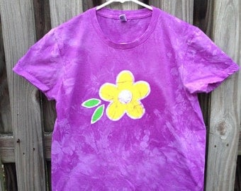 Purple Ladies Shirt (XL), Batik Flower Shirt, Purple Flower Ladies Shirt, Yellow Flower Shirt, Batik Womens Shirt, American Made Shirt