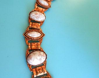 Art Nouveau Revival Vintage 1950s white Confetti Copper Foil Thermoset Repousse Bracelet--Art.377/3 -