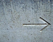 Turning Point - Arrow Symbol in Distressed Concrete - Fine Art Photograph Signed Limited Edition, Various Sizes and Mount Options Available