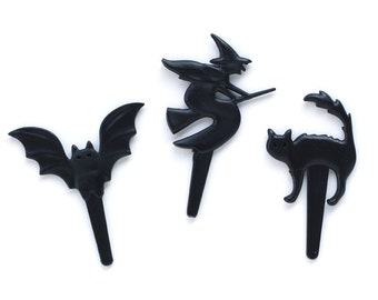 Halloween Cupcake Toppers - Witch, Bat and Cat (set of 12) Vintage Inspired Halloween Cupcake Picks