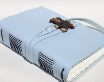 "Teddy Bear - Light Blue Leather Journal - 4 1/2"" x 6"" 140 lb Watercolor Paper - Handmade Art Sketchbook Scrapbook"