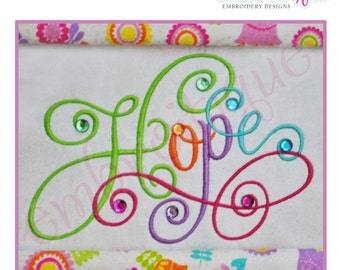 Hope Calligraphy Script - Large- Instant Email Delivery Download Machine embroidery design