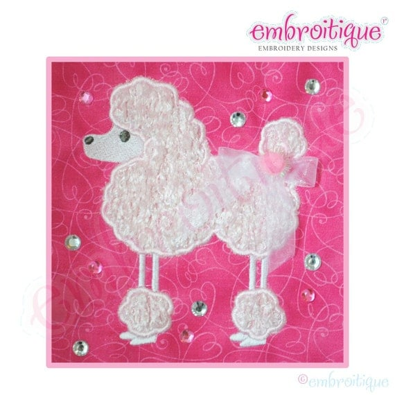 Charming Poodle Applique- Instant Email Delivery Download Machine embroidery design